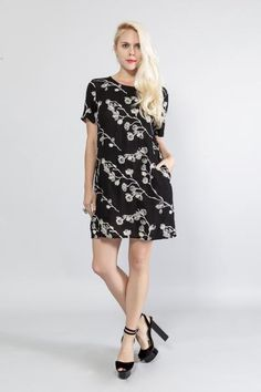 Cute, Sexy Floral Embroidered Shift Dress Keyhole button back closure Side pockets Round neck Short sleeves Unlined