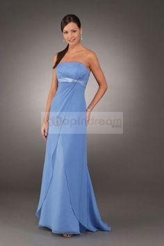 skyblue bridesmaids dresses   ... sweep train draped Chiffon long light sky blue prom dress - US$92.99