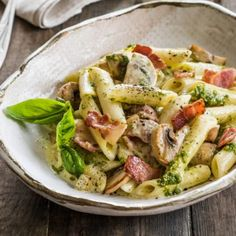 Pesto pasta with mushrooms and bacon - Nadia Lim Pasta Recipes For Two, Easy Healthy Pasta Recipes, Pesto Pasta Recipes, Pastas Recipes, Vegetarian Pasta Recipes, Pasta Dinner Recipes, Chicken Pasta Recipes, Healthy Pastas, Dishes Recipes