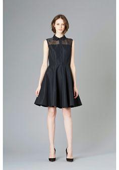 LE CIEL BLEU Grosgrain flared dress