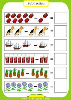 Preschool Math-Subtraction Worksheets.  Introduce preschoolers to math using pictures to count. Printable sheets. Click on coloring page im...