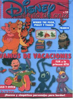 Bunch of Disney Character magazine Cross Stitch Magazines, Cross Stitch Books, Cross Stitch Charts, Cross Stitch Patterns, Disney Stitch, Lilo Y Stitch, Cross Stitching, Cross Stitch Embroidery, Disney Pixar