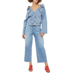 Women's Topshop Off The Shoulder Denim Jacket ($90) ❤ liked on Polyvore featuring outerwear, jackets, mid denim, off the shoulder jacket, topshop jackets, jean jacket, off the shoulder jean jacket and blue jackets