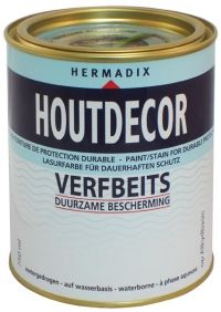 Hermadix Houtdecor Verfbeits is op basis van watergedragen alkydhars (natuurlijke olie). Het is absoluut oplosmiddelvrij en zonder lood of cadmium. Alkydhars zorgt voor een goede indringing en verankering en geeft een uitstekende bescherming tegen nadelige invloeden door weersomstandigheden. Exclusief verkrijgbaar bij www.2shop.nl