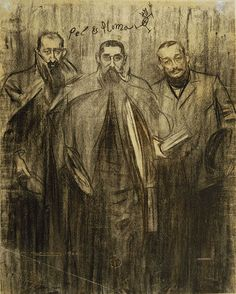 """'Miquel Utrillo, ramon casas and Leandre Galceran"""" Portrait by Ramon Casas conserved at MNAC in Barcelona. Fine Art Drawing, Guy Drawing, Figure Drawing, Painting & Drawing, Art Drawings, Horse Drawings, Drawing Stuff, Drawing Poses, Spanish Painters"""