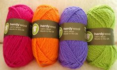 Loving the bright colours of Herdy Wool Yarn made from various sheep breeds