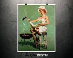 A Lot At Steak - Gil Elvgren, 1960s - Pin Up, Pin Up Girl, Vintage, Stockings, Lingerie, Gift For Men, Gifts For Him, BBQ Signs, Sexy Prints by TheRetroPoster on Etsy