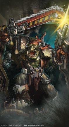On a Rampage by Henning Ludvigsen Orks 40k, Warhammer 40k Art, Game Workshop, Space Marine, Smurfs, Sci Fi, Fantasy, Destruction, Hulk