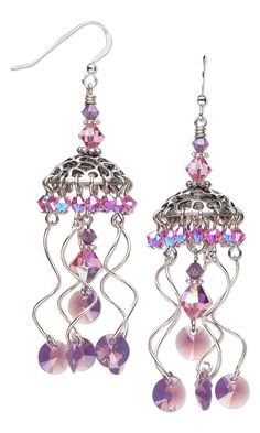 Jewelry Design - Earrings with Swarovski Crystal Beads and Drops and Sterling Silver Drops - Fire Mountain Gems and Beads