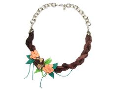 Brown Silk Necklace with Turkish Needle Laces by AutHentIcBoutIQue, $35.00
