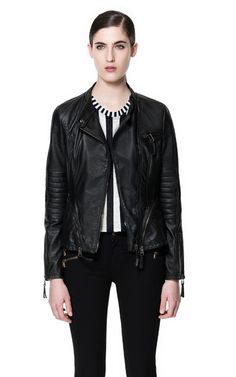 Image 2 of DOUBLE BREASTED LEATHER JACKET from Zara