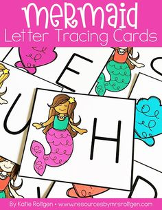 Mermaid Letter Tracing Cards | Let your preschool and Kindergarten students practice their uppercase and lowercase letters with this magic mermaid theme. These word great with sand trays or hair gel bags. Color or b&w available. These will work great in the classroom, a homeschool setting, or even or tot school. (prek, Kinder, home school)