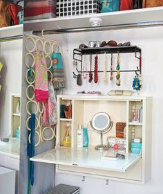This is a laptop work station from IKEA. It obviously has a duel use as a makeup/vanity area and storage. Great idea.