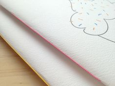 hand bound notebook journal cupcake neon kawaii by mipluseddesign