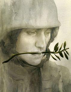by Sam Weber: Daar word je stil van...... voor mij zegt ie erg veel. Ik noem hem : soldaat van de vrede. Alsof deze kritische geest de oorlog werd ingestuurd en heeft besloten de strijd de rug toe te keren. Vrede. Erg mooi. Voor mij schilderij 2013..... een ommekeer! ( Hopelijk) Deze heeft voor mij een gouden randje.
