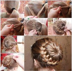 Amazing braid bun...not sure the original site. Now if only I could do hair.