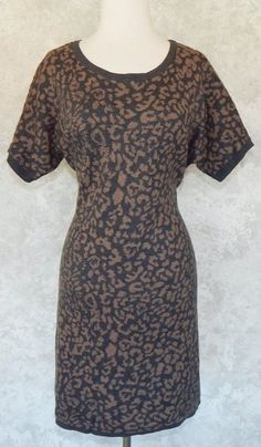 ANN TAYLOR Gray Tan Leopard Jacquard Knit Sweater Dress Angora Blend Winter L P #AnnTaylorLOFT #SweaterDress #WeartoWork