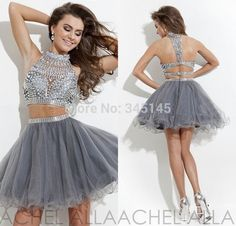 Silver Grey Beaded Short Tulle Two Piece Prom Dress 2014 Homecoming Gowns - $122
