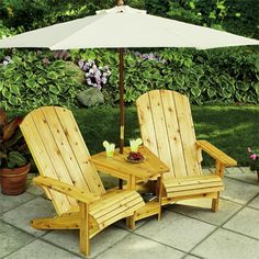 Neat Adirondack chair/table/umbrella set  for over looking the barn or lake    http://www.skiltools.com/How-To/Pages/Project-Details.aspx?title=Double%20Adirondack%20Chair&type=PDF