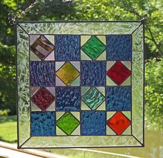"Stained Glass Quilt Block Panel.  One way of having a ""Quilt Blanket"" inside instead of on the barn."