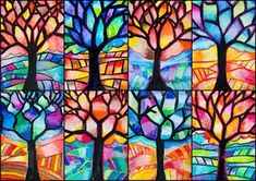 Tree in Warm and Cool colors- ArtE ScholaIn this mixed media painting we used oil pastels and watercolors in order to learn the ranges of warm and cool colors. With students of Grade we created these trees to recognize and use this ki… Fall Art Projects, School Art Projects, Drawing Projects, Oil Pastel Art, Oil Pastels, Chalk Pastels, Arte Elemental, Art Doodle, Doodle Tree