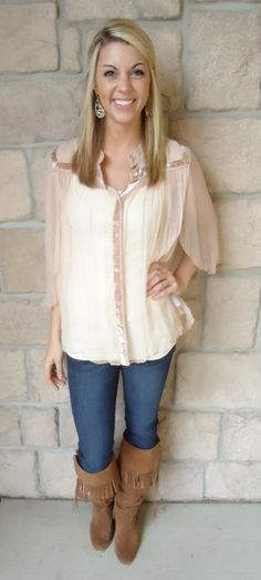 Free People -Love this flowy pink chiffon top! $128