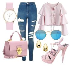 la vie en rose by oksana-chmel on Polyvore featuring мода, Chicwish, Topshop, Yves Saint Laurent, Dolce&Gabbana, Laruze and Ray-Ban