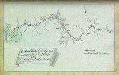 """Johann Christoph Brotze's book  """"Sammlung verschiedner Liefländischer Monumente"""". Lauf der Embach, wie sie aus der Wirtzjerwe in die Peibussee fällt [die Karte]."""