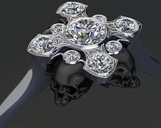 Diamond Crown Skull Engagement ring Two Tone por adamfosterjewelry