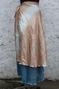 Mini  SkirtsWomen Indian Vintage Silk WrapBohemian SkirtGypsyHippieBohoDouble Layer SkirtUp cycled Flamenco Wrap Skirtss-052