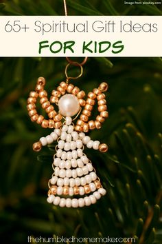 I love this idea to nurture your kids' spiritual growth by giving them Christ-centered gifts at Christmas time! This is a great list of 65 spiritual gift ideas for any age child. I will definitely be getting some of the presents on this list this year! Christmas Angel Decorations, Unique Christmas Trees, Christmas Angels, Christmas Presents, Christmas Tree Ornaments, Christmas Holidays, Christmas Crafts, Angel Ornaments, Christmas Ideas