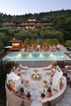 Auberge du Soleil features a handful of maisons scattered across a 33-acre hillside olive grove in Napa Valley