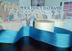"BTY 1 yard 1 3//8/"" orange blue moire vtg striped rayon grosgrain ribbon millinery"