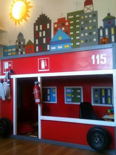 IKEA Kura bed is a cool piece for kids' rooms, it's a bunk bed ideal for shared rooms, recommended for the kids of 6 years and older. Ikea Kura Hack, Ikea Hackers, Kura Bed, Fire Truck Bedroom, Truck Room, Diy Bed, Bed Design, Fire Trucks, Kids Bedroom