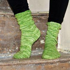 """How I Make My Socks"" by Susan B. Anderson knit with Morning Bright Organic Merino/Nylon Sock yarn in ""Tea Leaf Green"""