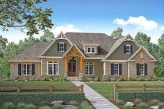 <ul><li>This beautiful 4 bedroom, Craftsman style home plan offers great rustic curb appeal. </li><li>The main living spaces also offer raised ceilings and large windows which offer great views to the exterior. </li><li>The well-equipped kitchen has everything you could want and is complete with a large island and eating bar. </li><li>The bedrooms are all well sized and the master suite features dual vanities, large shower, and huge walk-in closet.