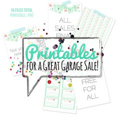 "HUGE collection of #free #printables for your next #garage sale.  Includes pricing signs and pre-made free, all sales final, etc signage.  Prints on standard 8.5x11"" computer paper in color or greyscale."
