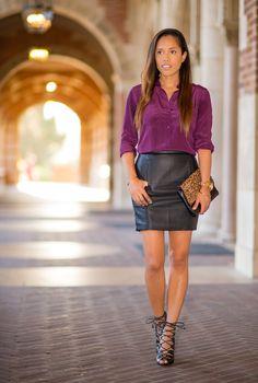 Black leather mini-skirt and burgundy blouse