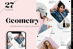 DETAILS I want to introduce you Geometry Instagram Puzzle Template - incredible trendy Instagram grid for bloggers and e-commerce with a whole months worth of 27 posts in one PSD file.  About Minimalist Instagram grid  Fully editable psd file prepared to showcase your custom design, by simply placing your photos with double click on Smart Object. This original design ideal for both big store and fashion blogger. Geometry and perfect fonts will give your instagram blog charm Instagram Grid, Instagram Blog, Social Media Template, Social Media Design, Ios, Envato Elements, Youtube Channel Art, Android, Game Assets