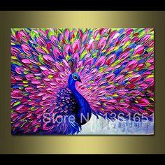 """100% animales pintados a mano de pintura al óleo abstracta del cuchillo de paleta """" pavo real """" home decoration picture"""