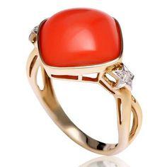 Anel de Ouro Amarelo com Coral e Diamantes - - Medalhão Persa