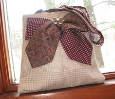 Straw-colored silk plaid tote bag made from men's suit coat and neck ties. via Etsy.
