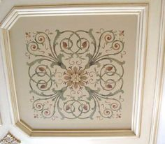Stencil on coffered ceiling