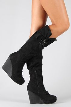 Buckle Round Toe Knee High Wedge Boot - Buckle Round Toe Knee High Wedge Boot Source by eragoneg - Jean Knee High Boots, Black Wedge Boots, Black High Heels, High Heel Boots, Heeled Boots, Boot Heels, Wedge Shoes, Mode Rock, High Wedges