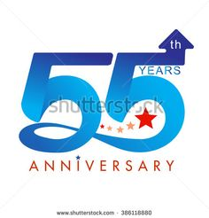 Template logo 55th anniversary, vector illustrator - stock vector