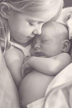 Precious black & white photo of siblings