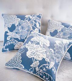 Thibaut Teahouse Cut Paper Fabric- blue on white