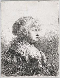 Saskia with Pearls in her Hair, Rembrandt van Rijn, 1634 - Rijksmuseum Rembrandt Etchings, Rembrandt Portrait, Rembrandt Drawings, Rembrandt Paintings, Academic Drawing, Dutch Painters, Dutch Artists, Chiaroscuro, Wassily Kandinsky