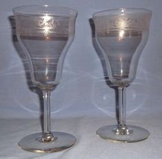Vintage Crystal Parfait / Water Goblets - Set of 2 - Elegant Etched Scroll Band - Great for that perfect Parfait!!