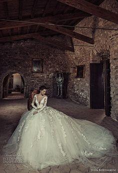 julia kontogruni 2017 bridal long sleeves deep v neckline heavily embellished bodice tulle skirt princess sexy ball gown wedding dress royal train (5) mv